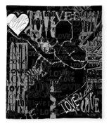 Tribute To Love In Black Fleece Blanket