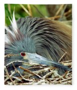 Tricolored Heron Incubating Eggs Fleece Blanket