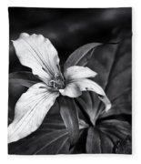 Trillium - Black And White Fleece Blanket