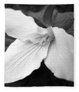 Trillium Flower In Black And White Fleece Blanket