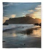 Trinidad Beach Reflections Fleece Blanket