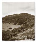 Trinidad Memorial Lighthouse And Fog Bell With Trinidad Head Circa 1948 Fleece Blanket