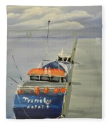 Trinity Long Line Fishing Trawler At San Remo  Fleece Blanket