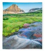 Triple Falls Stream Glacier National Park Fleece Blanket