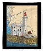 Triple Islands Lighthouse Bc Canada Chart Art Fleece Blanket