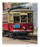 Trolley Car At The Fort Edmonton Park Fleece Blanket