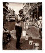 Trombone Man On Royal St. New Orleans Fleece Blanket