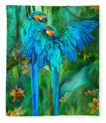 Tropic Spirits - Gold And Blue Macaws Fleece Blanket