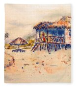 Tropical  Beach Hut Fleece Blanket