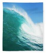 Tropical Blue Ocean Wave Fleece Blanket