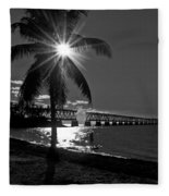 Tropical Bridge In Black And White Fleece Blanket