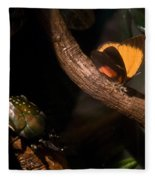 Tropical Butterfly And Rhinoceros Beetle Fleece Blanket
