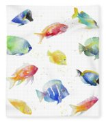 Tropical Fish Round Fleece Blanket