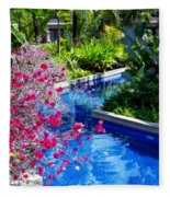 Tropical Garden Around Pool Fleece Blanket