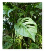Tropical Green Foliage Fleece Blanket
