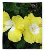 Tropical Hibiscus - Bonaire Wind 01 Fleece Blanket