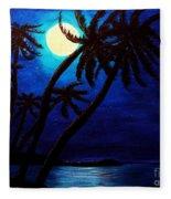 Tropical Moon On The Islands Fleece Blanket