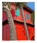Tropical Orange House Palm Trees - Whoa Now Fleece Blanket