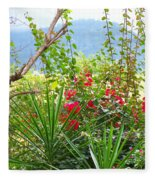 Tropical Red Against Cool Mountain Mists Fleece Blanket