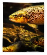 Trout Swiming In A River Fleece Blanket