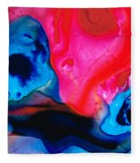 True Colors - Vibrant Pink And Blue Painting Art Fleece Blanket