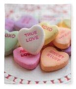 True Love Valentine Candy Hearts Fleece Blanket