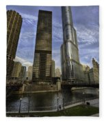 Trump Tower And River Front Fleece Blanket