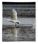 Trumpeter Swan Walking On Water Fleece Blanket