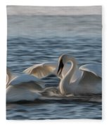 Trumpeter Swans Playing Tag Fleece Blanket