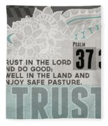 Trust In The Lord- Contemporary Christian Art Fleece Blanket