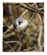 Tufted Titmouse On The Watch Fleece Blanket