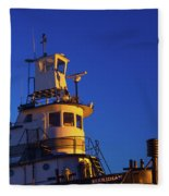 Tug Boat At Dawn, Cape Ann, Gloucester Fleece Blanket