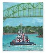 Tug Sabine Under Bourne Bridge Fleece Blanket