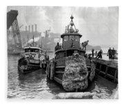 Tugboat Winter  1946 Fleece Blanket