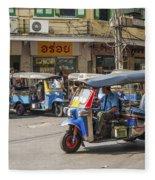 Tuk Tuk Taxis In Bangkok Thailand Fleece Blanket