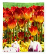 Tulip Stand In Mount Vernon Washington Fleece Blanket