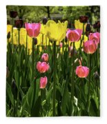 Tulip Time Pink Yellow Black Beauty Fleece Blanket
