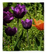 Tulip Time Purple And Orange Fleece Blanket