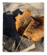 Tulip Tree Leaf - Frozen Raindrops In The Sunshine Fleece Blanket