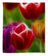 Tulips-7022-fractal Fleece Blanket