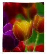 Tulips-7060-fractal Fleece Blanket
