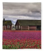 Tulips And Barns Fleece Blanket