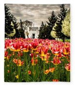 Tulips And Building Fleece Blanket