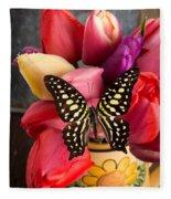 Tulips And Butterflies Fleece Blanket