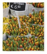 Tulips For Sale In Market, Close Up Fleece Blanket