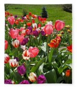 Tulips Garden Art Prints Colorful Spring Floral Fleece Blanket