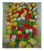 Tulips In A Field Fleece Blanket