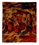 Tulips In Acryl Collage Fleece Blanket
