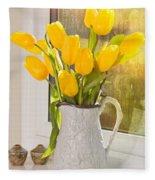 Tulips In Antique Jug Fleece Blanket