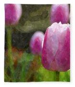 Tulips In Digital Watercolor Fleece Blanket